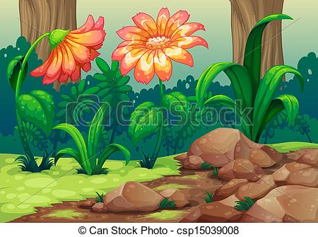 Vector Clipart of Giant flowers in the forest.