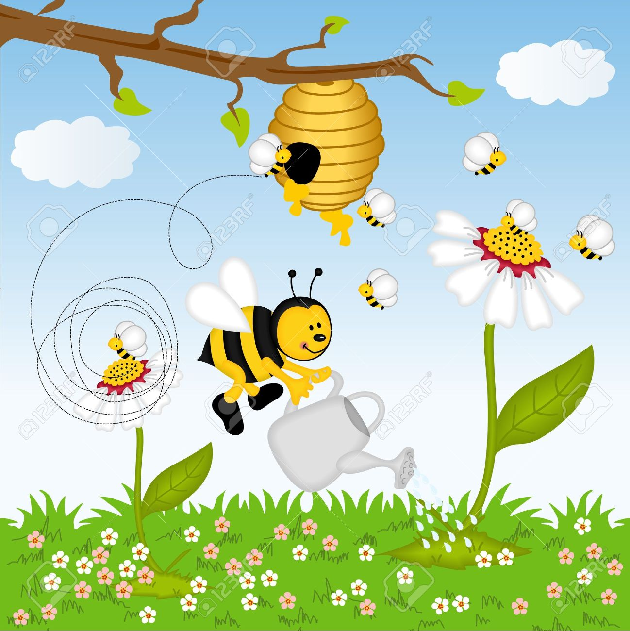 Bee Watering Flower In The Forest Royalty Free Cliparts, Vectors.