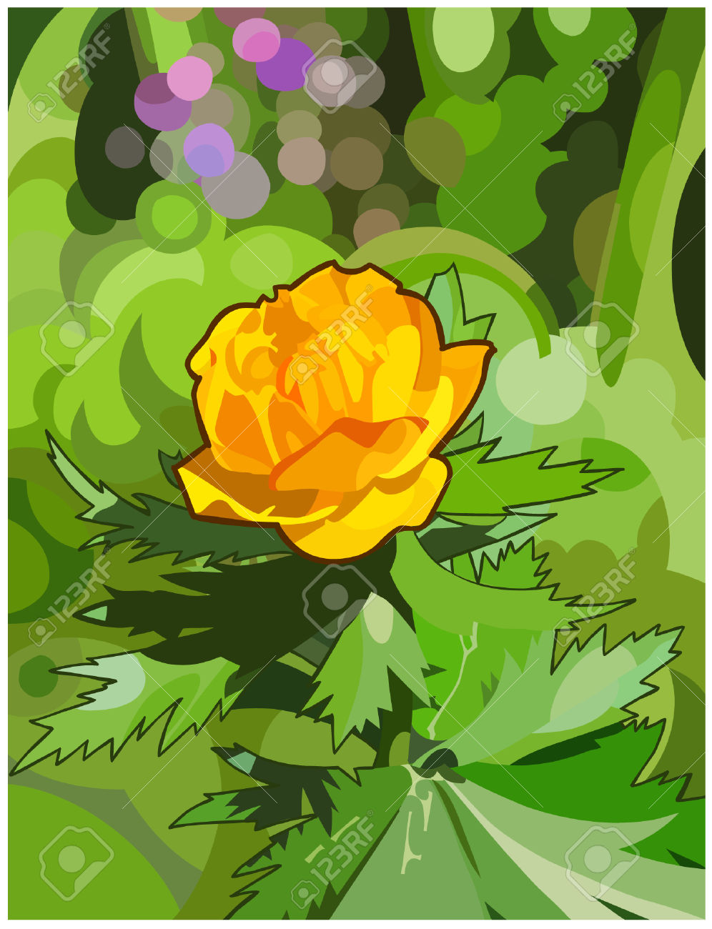 Orange Flower Forest Royalty Free Cliparts, Vectors, And Stock.