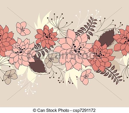 Vector Illustration of Seamless pastel pink border with forest.