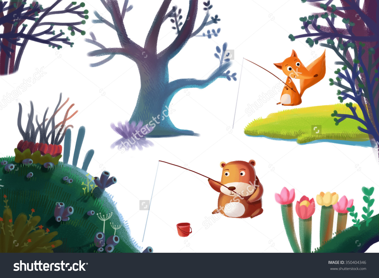 Clip Art Set Nature Stuff Forest Stock Illustration 350404346.