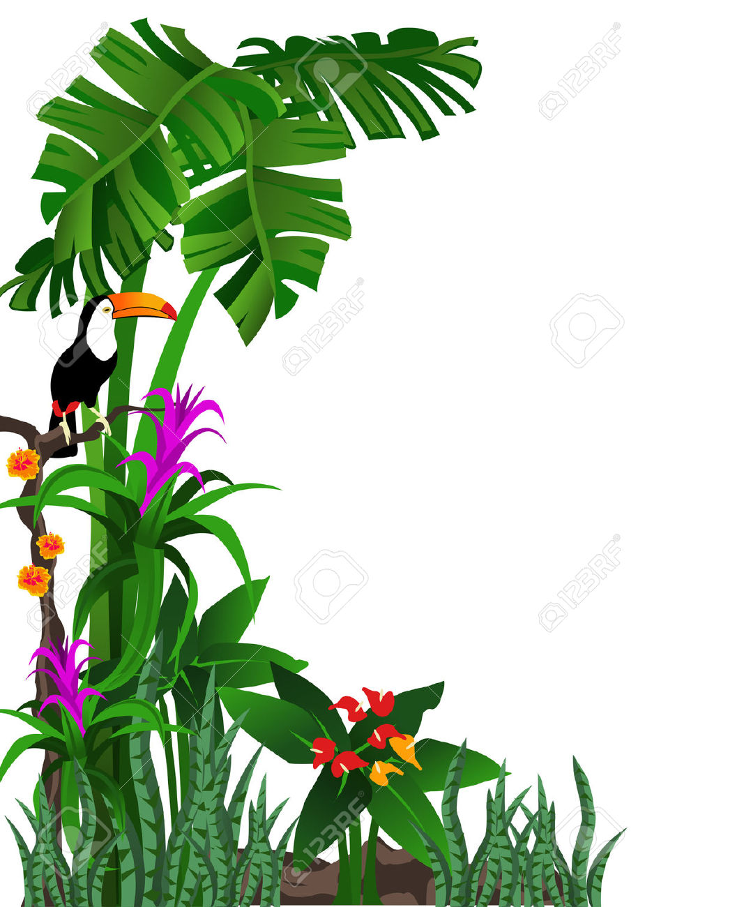 Background Illustration Of A Tropical Forest With Flowers And.