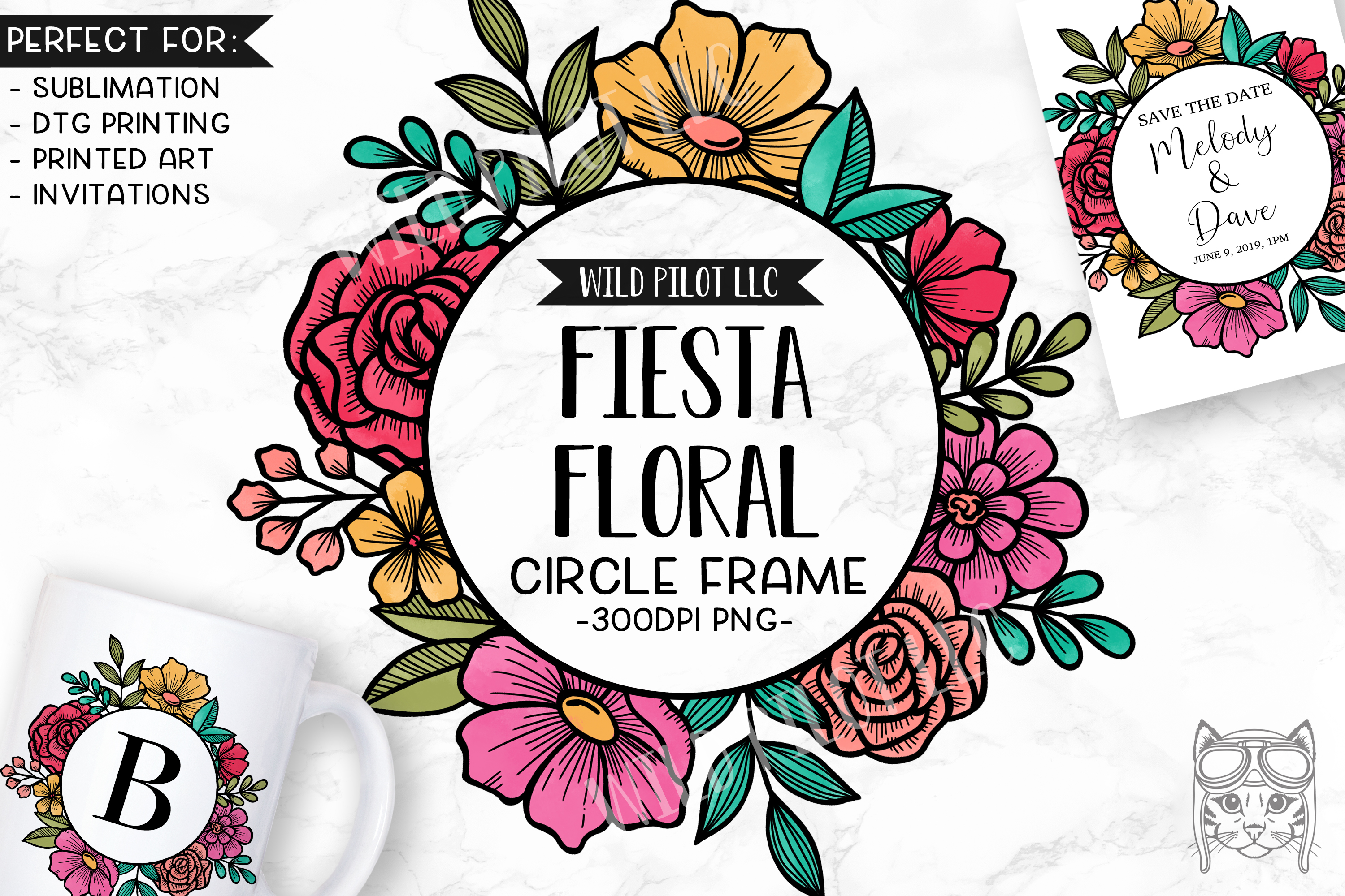 Fiesta Watercolor Flower Frame Clipart, Bright Floral.