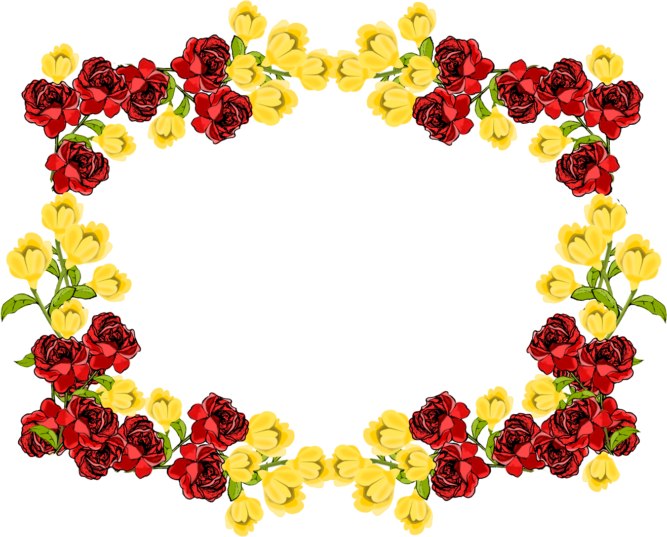HD Red Flower Frame Png Picture.