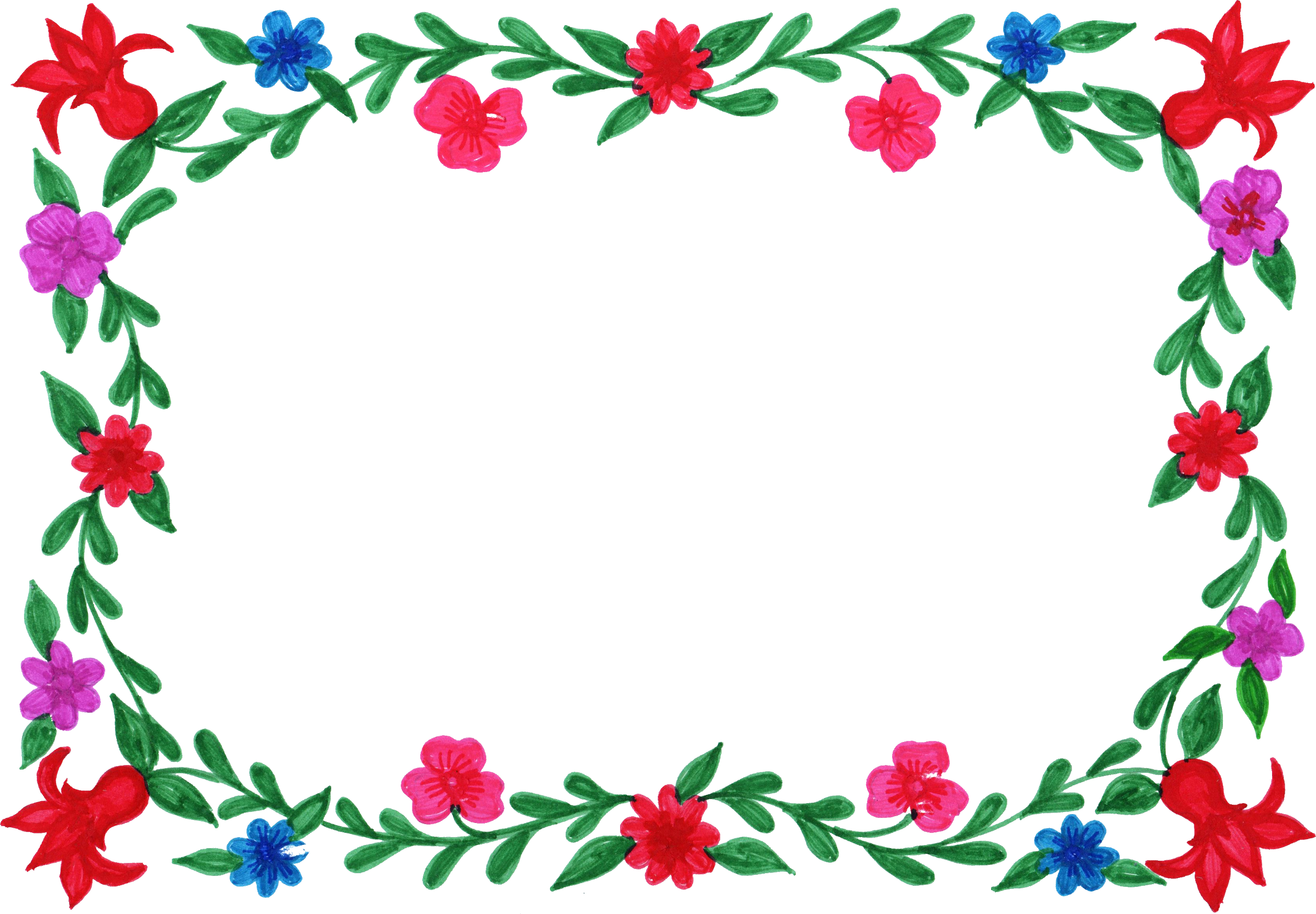 6 Flower Frame Colorful Rectangle (PNG Transparent).