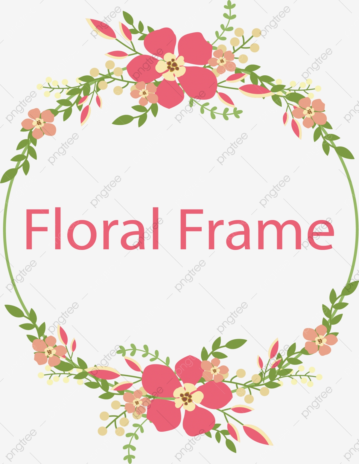 Flower Frame Vector, Wreath, Hand Painted, Flowers PNG and Vector.