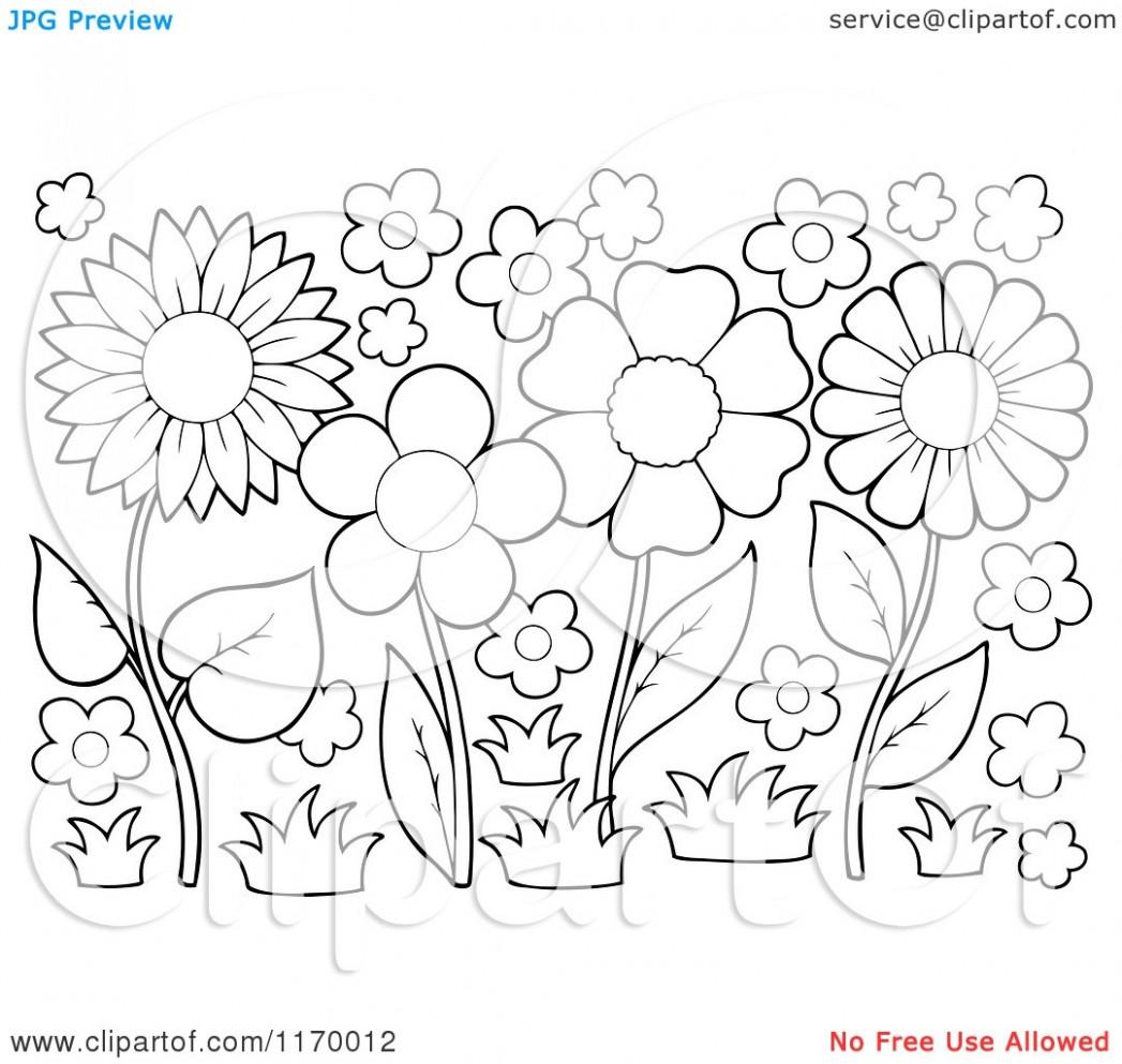 Flower garden clipart black and white 6 » Clipart Station.