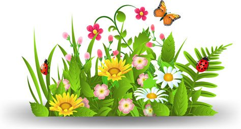 spring flower grass art background.