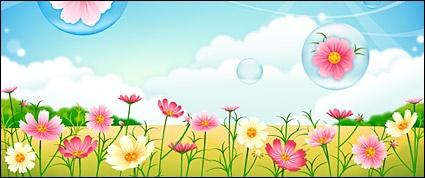 Flower garden Clipart Graphic.
