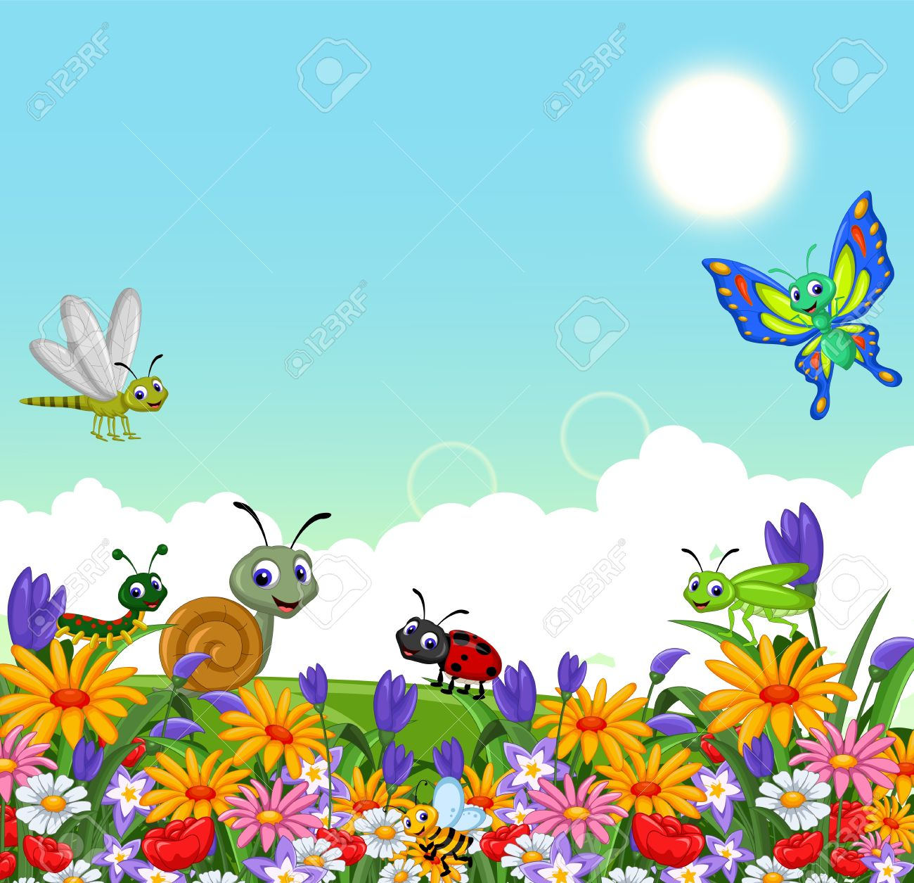 collection of insects in the flower garden.