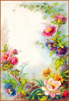 Vintage Field & Garden: Illustrated Border: Flowers in a Victorian.