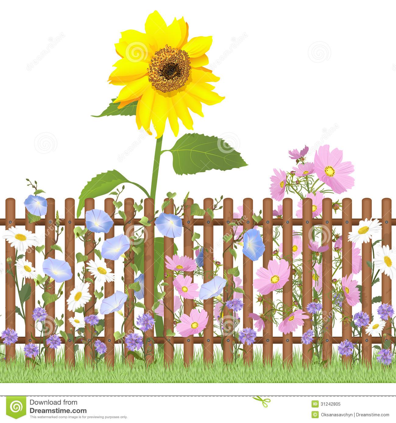 Free clipart flower garden white fence.