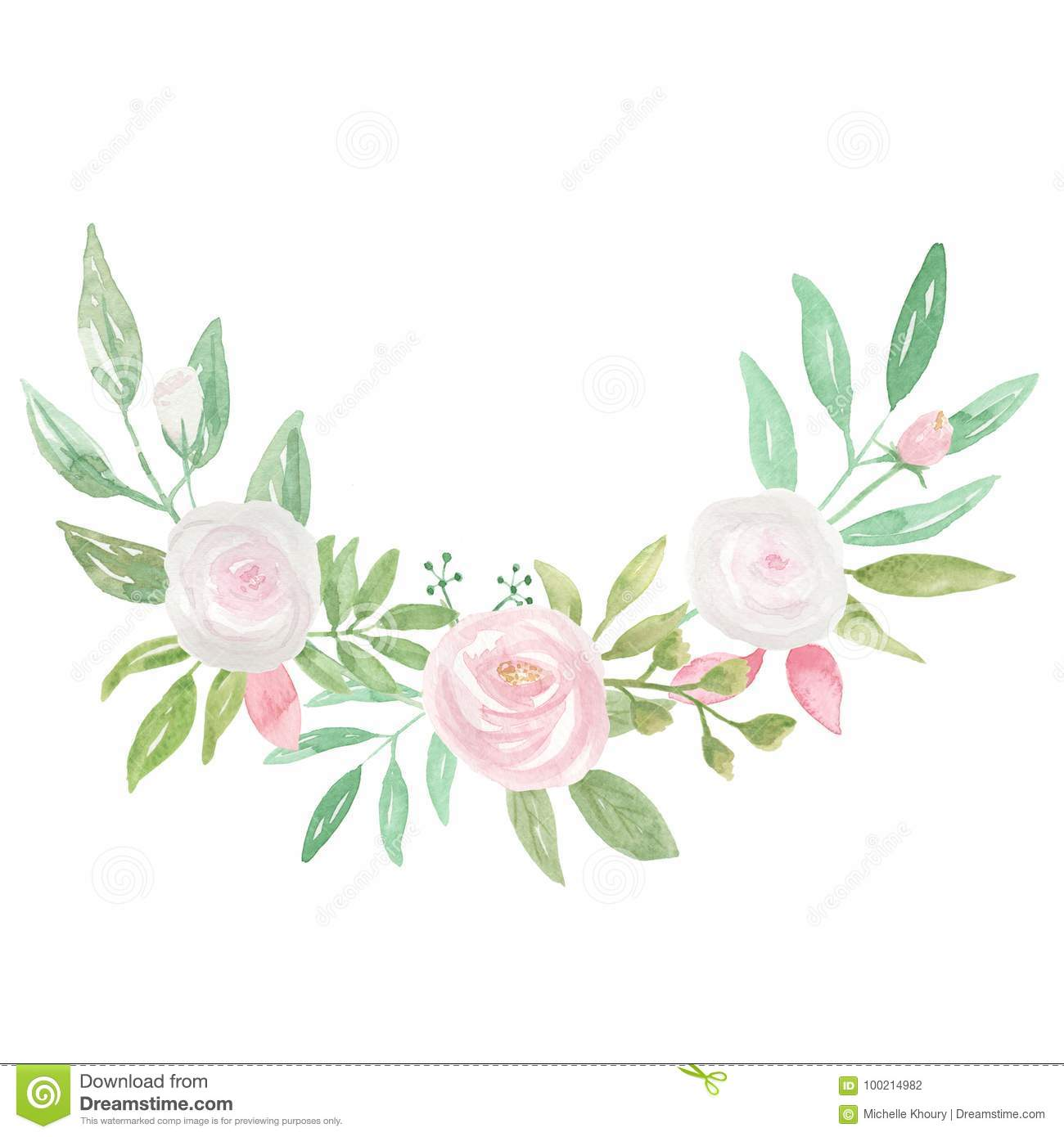 Watercolour Frame Pink White Bouquet Garland Flower Hand Painted.
