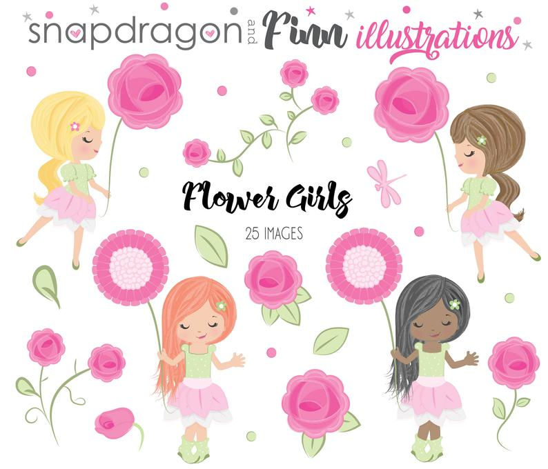 BUY5GET5 Flower Girls Clipart, Watercolor roses clipart, watercolor girls  clipart, watercolor flowers, cute girl, rose garden clipart.