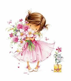 Bride and flower girl clipart.