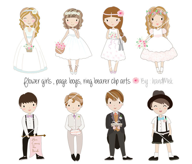 Wedding flower girl clipart.