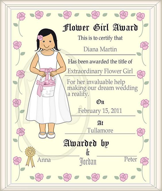 Flower Girl Clip Art & Printable Award 2 by MartinelaCartoons.