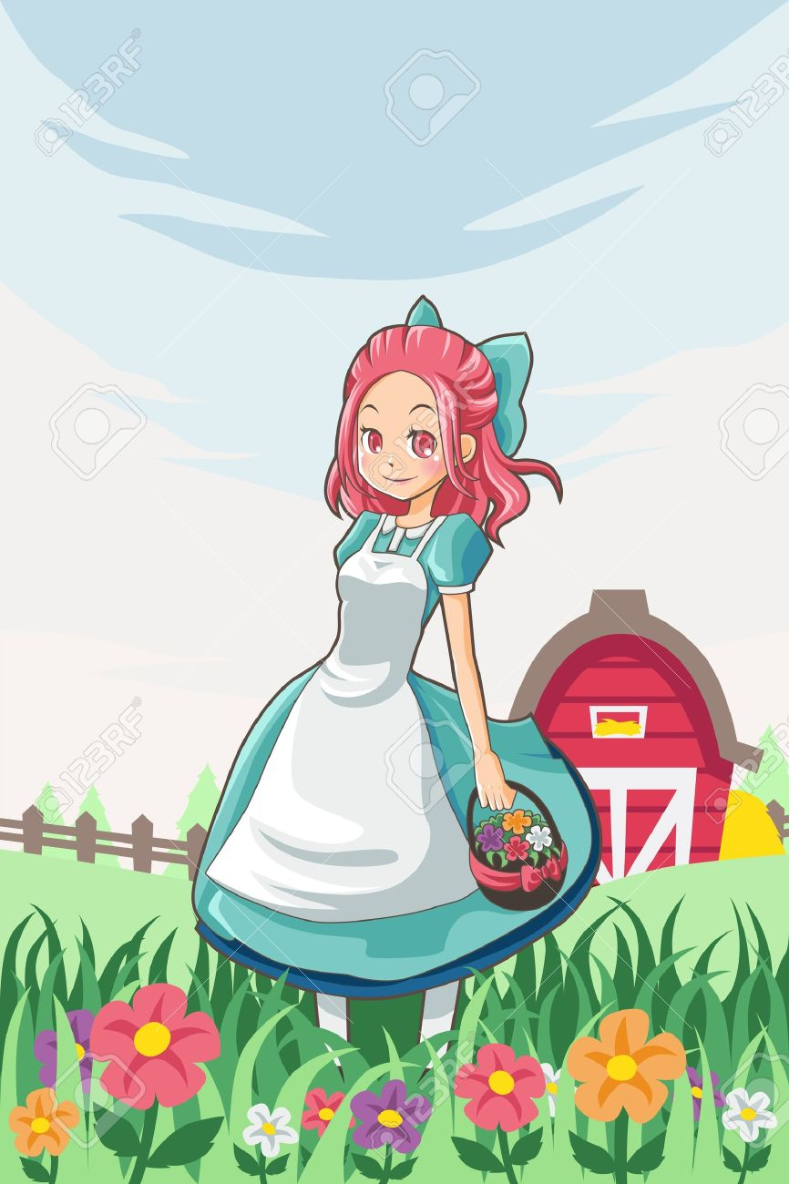A Vector Illustration Of A Country Farm Girl Carrying A Basket.
