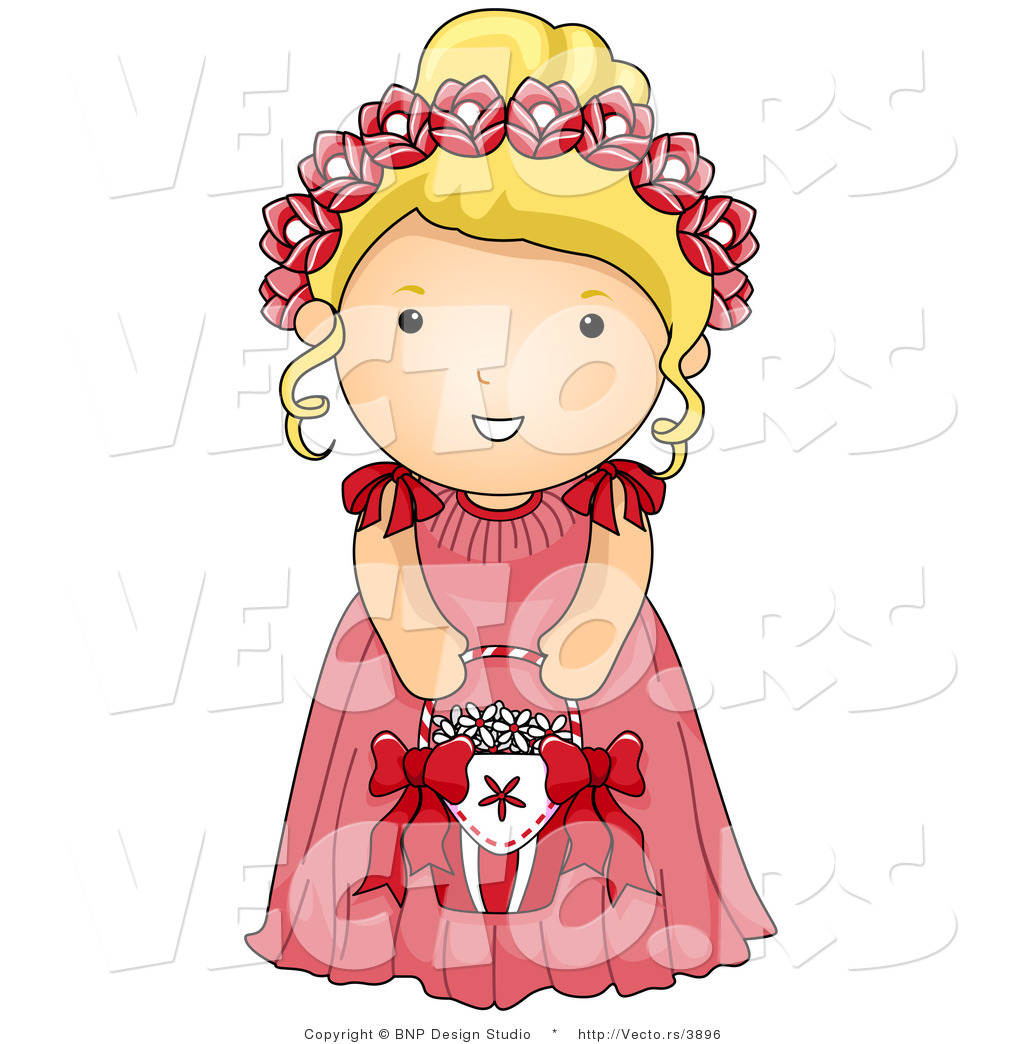 Vector of Cartoon Wedding Flower Girl in a Pink Dress by BNP.