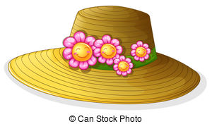A brown hat with blooming flowers. Illustration of a brown.