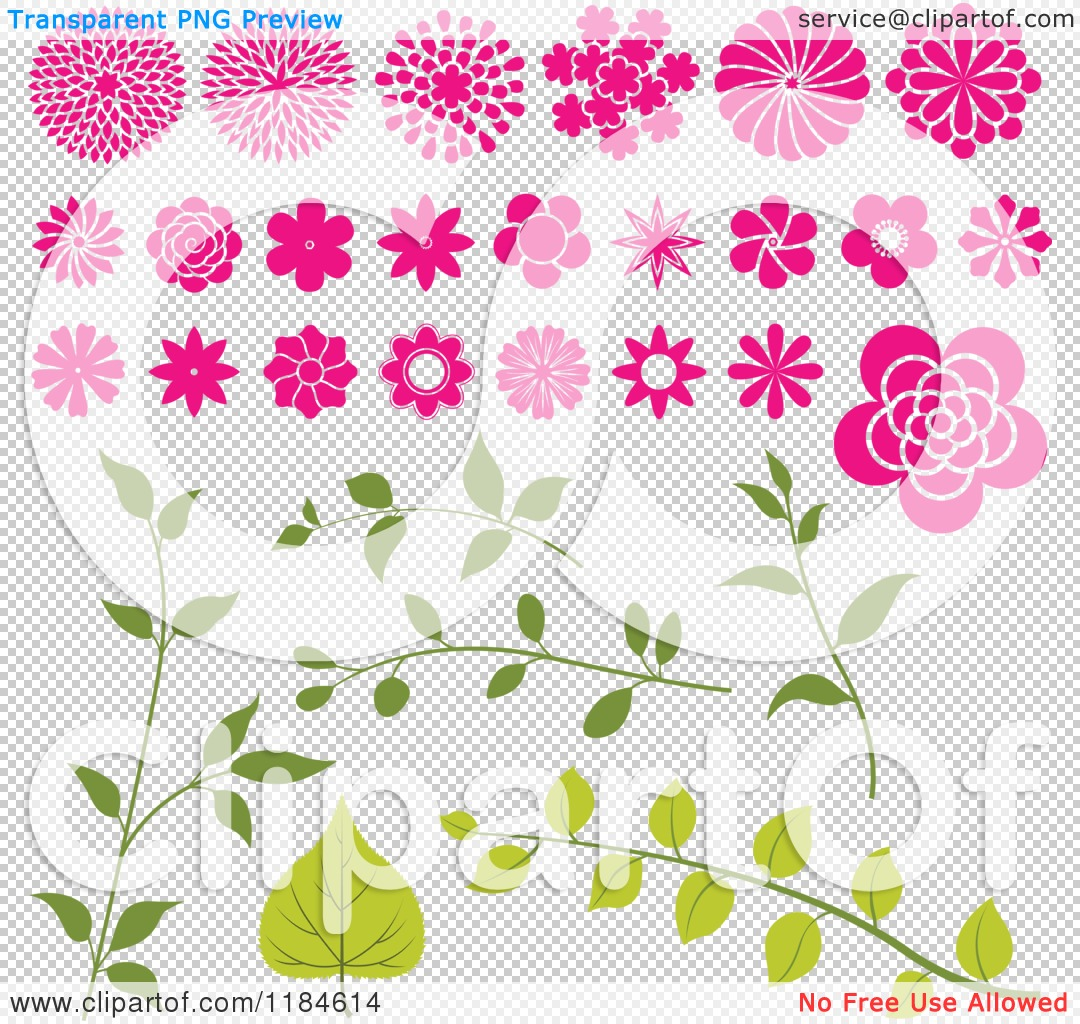 Clipart of a Pink Flower Heads and Green Leafy Stems.