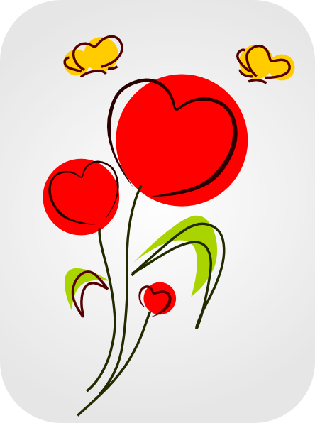Hearts And Flowers Clipart.
