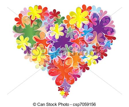 Clip Art Vector of Heart of flowers.