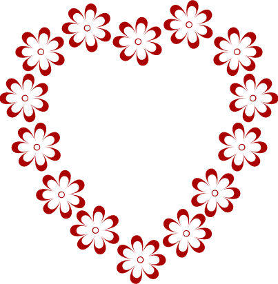 Flower heart clipart.