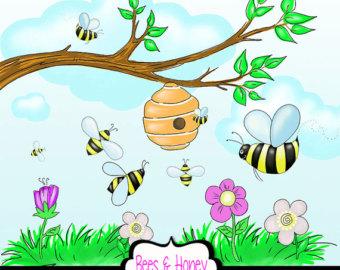 Honey bee on flower clipart.