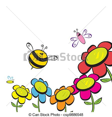 Vector of honey bee fly near flower. vector illustration.