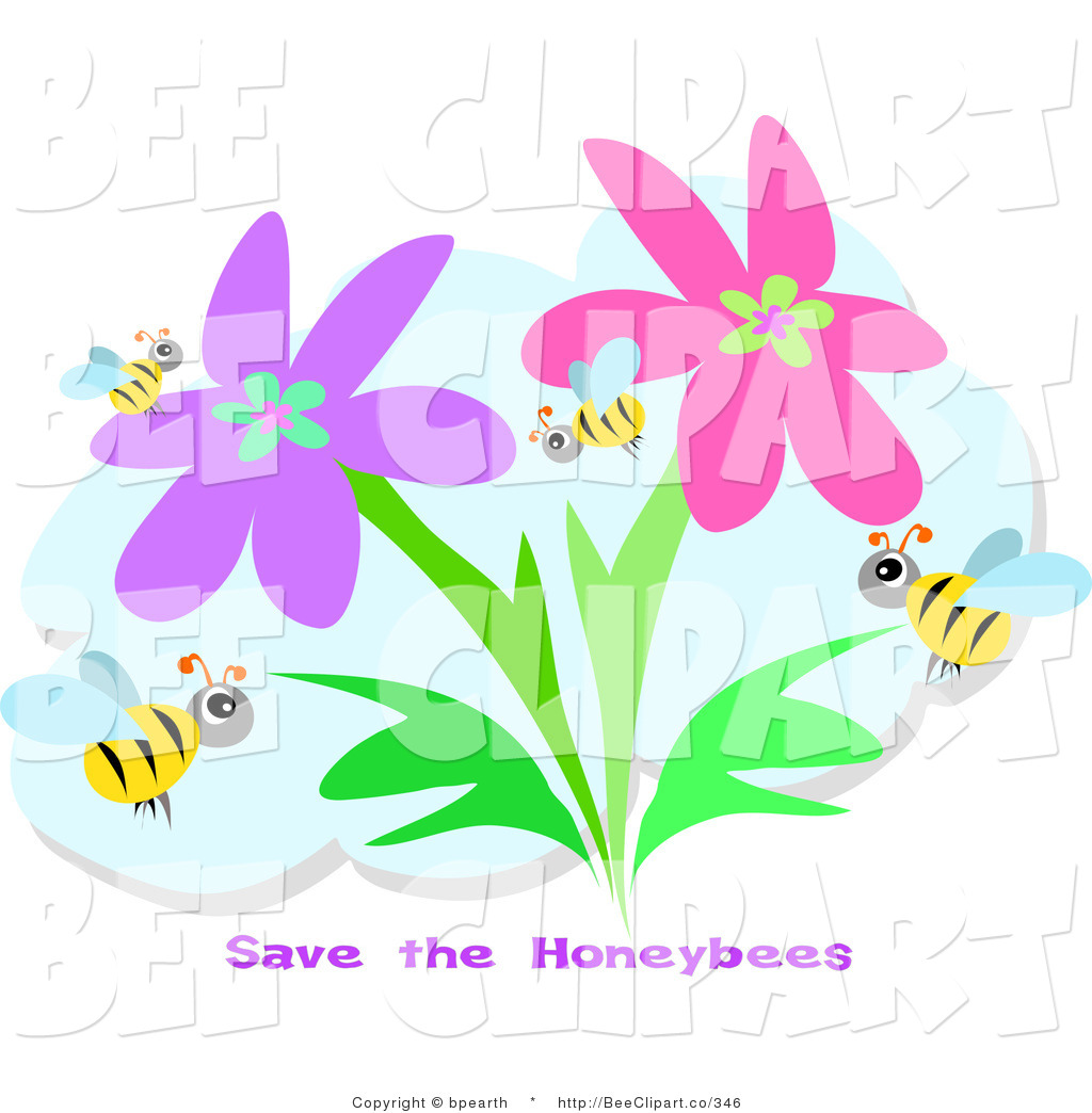 Royalty Free Stock Bee Designs of Flowers.