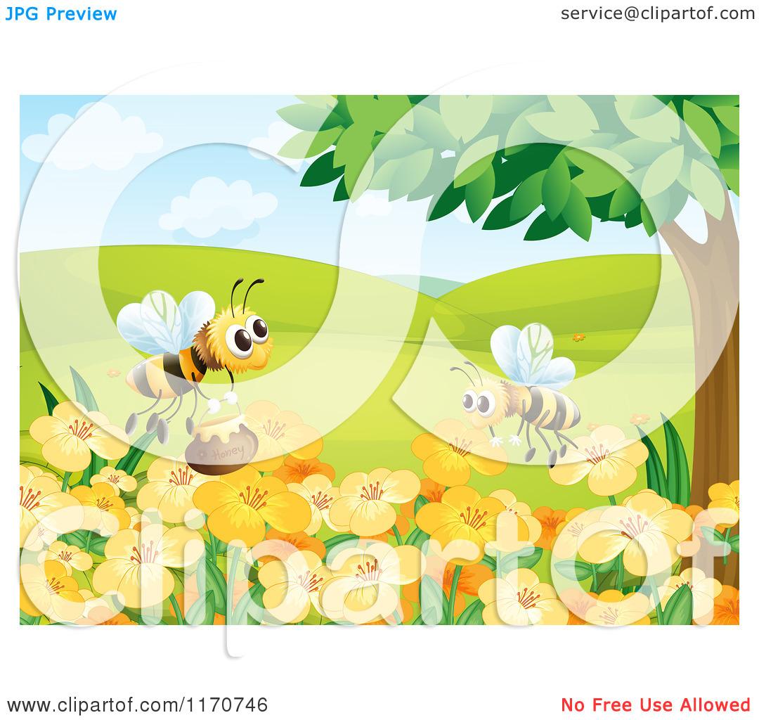 Cartoon of Honey Bees over a Flower Garden.
