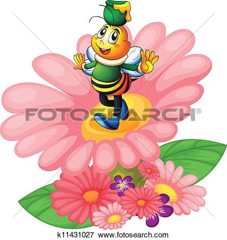 Honeybee and flowers clip art.