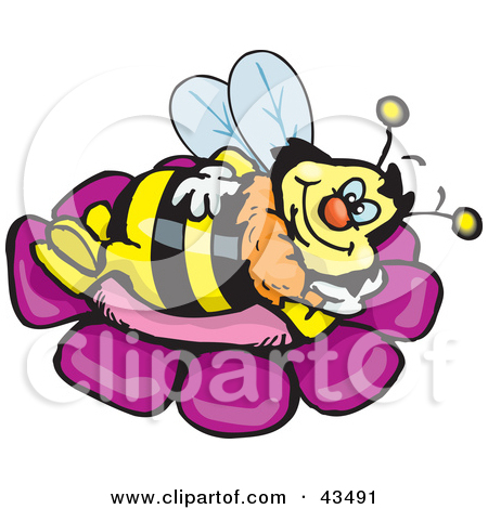 Clipart Illustration of a Honey Bee Character Relaxing On A Purple.