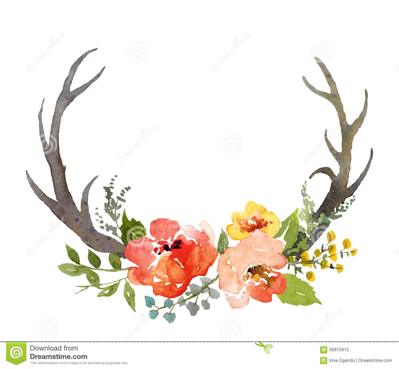 Floral Composition With Horns Stock Illustration.