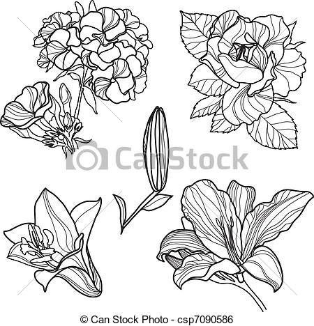 Clip Art Vector of Set of floral design elements (from my big.