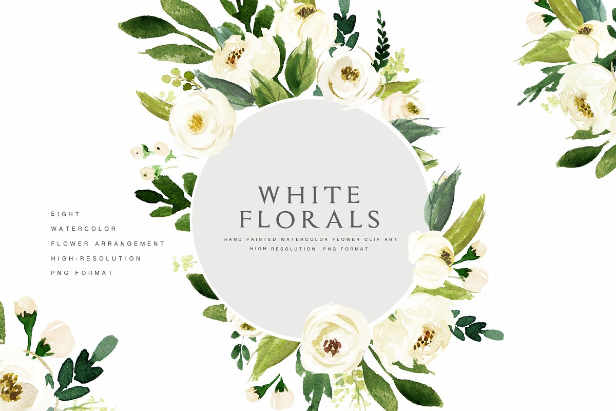 Watercolor White Flower Clip Art ~ Illustrations ~ Creative.