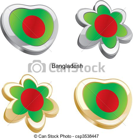 Vectors Illustration of bangladesh flag in heart and flower.