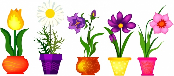 Spring Flowers In Pots Free vector in Adobe Illustrator ai.