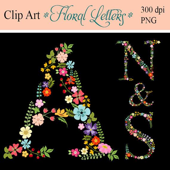 Monogram Floral Letters Digital letters Clip art by ArtDownload.
