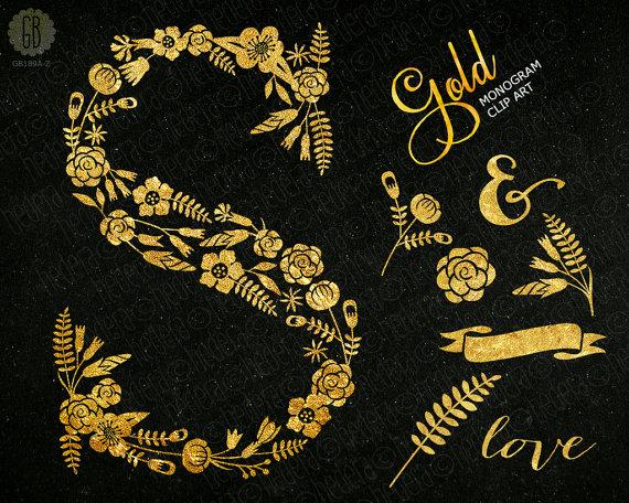 Golden letter S glam initial floral monogram flower type.