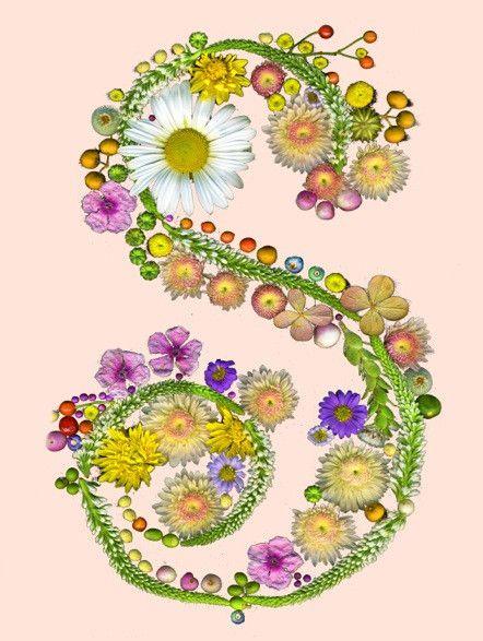 Flower Initial Print.