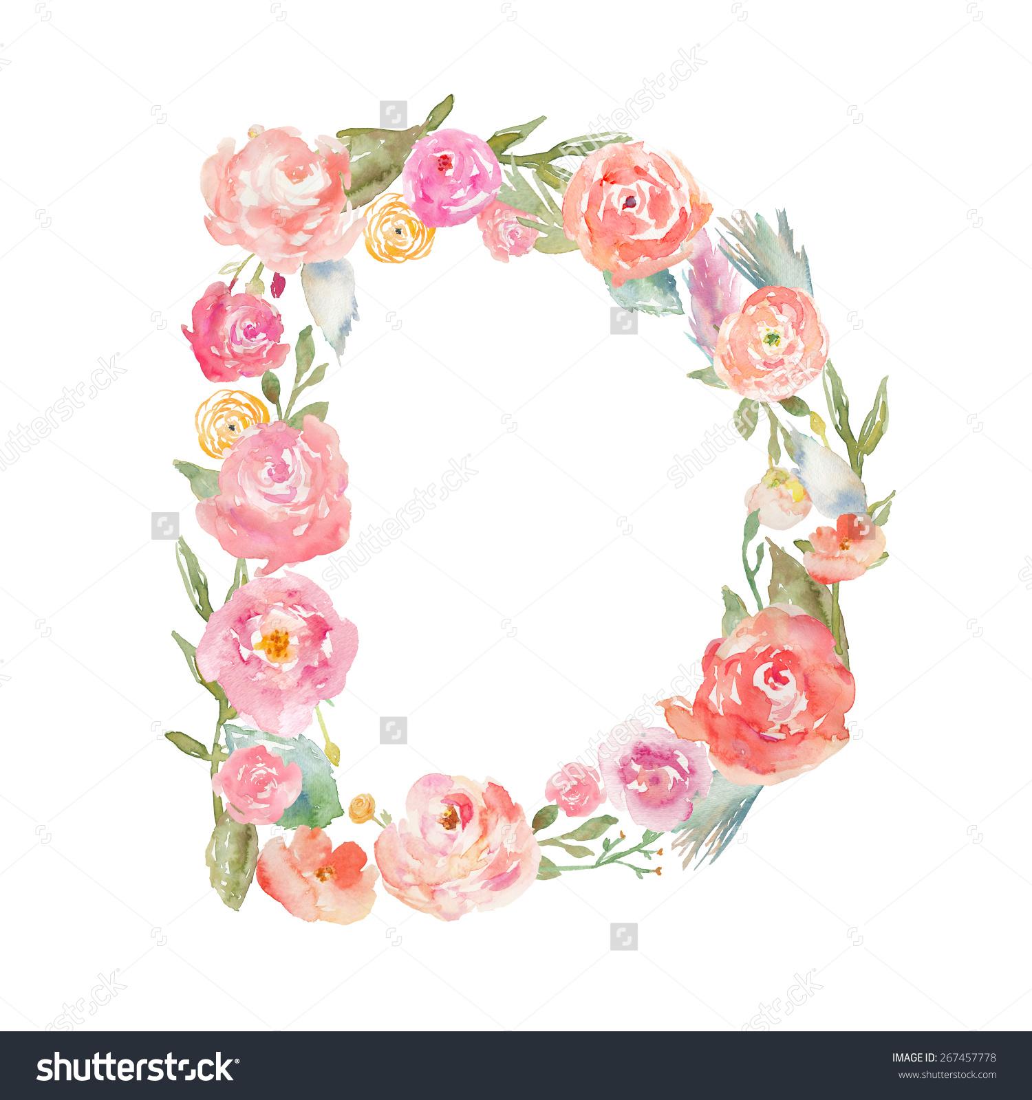 Watercolor Floral Monogram Letter D On Stock Illustration.