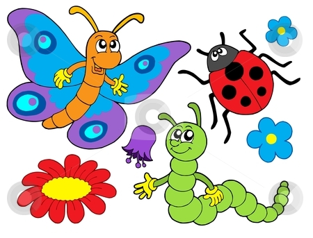 Bug and flower illustration stock vector.