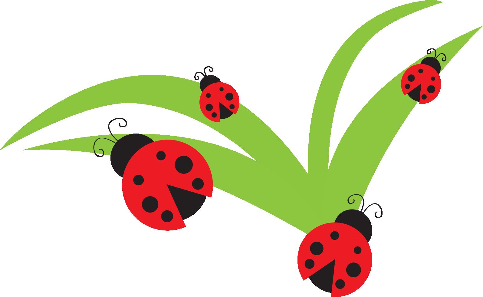 Ladybugs flowers clip art.