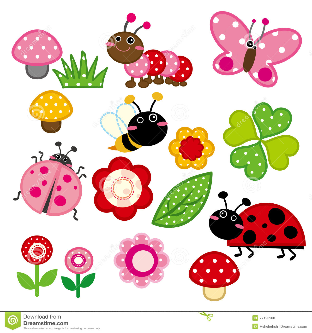 Garden insects clipart.