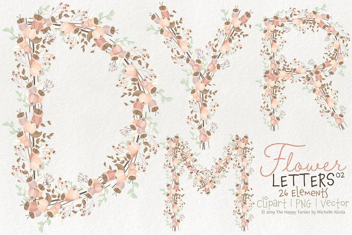 Flower Letters 02BI07 Floral Clipart.