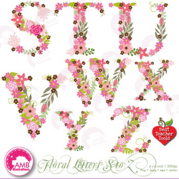 Letters Clipart, Letters In Pink Floral Theme Clipart, S to Z, AMB.
