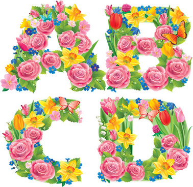 Flower alphabet free vector download (12,652 Free vector.