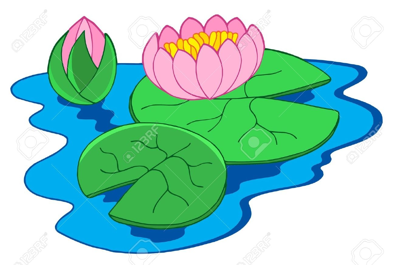 Pink Water Lily Flower Clip Art.